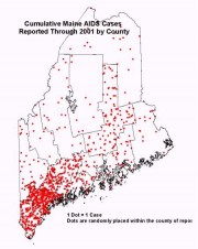Map: Cumulative AIDS Cases Reported Through 2001 by County