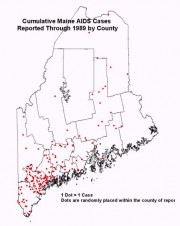 Map: Cumulative AIDS Cases Reported Through 1989 by County