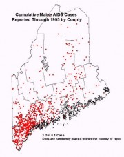Map: Cumulative AIDS Cases Reported Through 1995 by County