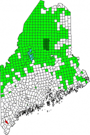 Map of Maine Showing the location of Alfred. Green areas are unorganized territories.