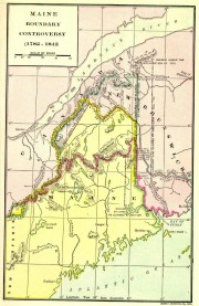 Map of the area subject of the Northeast Boundary Dispute and the Aroostook War