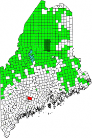 Map of Maine Showing the location of Augusta. Green areas are unorganized territories.