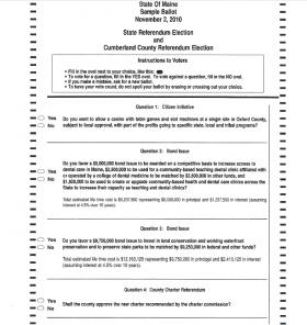Referendum Ballot, Cumberland County 2010