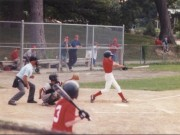 High school baseball, batter swings away!