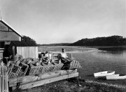 Lobsterman at the Shore, c. 1945 George French collection, Maine State Archives