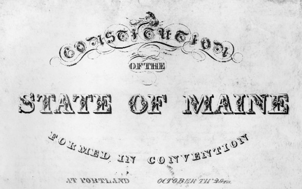 Title page from the Maine Constitution, Maine State Archives photo