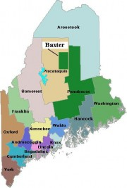 Map of Maine Counties and Baxter Park