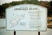 """Welcome to Chebeague Island"" sign at the Ferry Terminal in Cumberland (2002)"