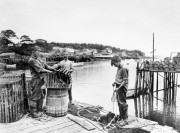Working on Traps at New Harbor (c. 1950)