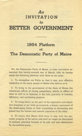 Title Page 1954 Maine Democratic Platform