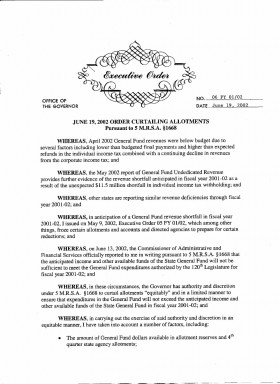 Governor's Executive Order Curtailing Allotments (page 1)