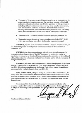Governor's Executive Order Curtailing Allotments (page 2)