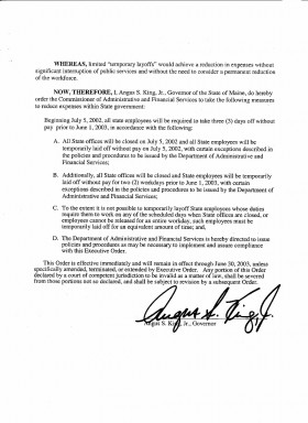 "Governor's Executive Order on ""Temporary Layoffs"" (page 2)"