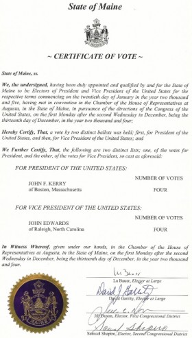 Certificate of Vote, signed by the Electors