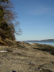 Shore on Mackworth Isalnd, Great Chebeague Island in Background