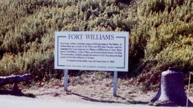 Sign: Brief History of Fort Williams (2001)