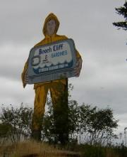 Huge Beach Cliff Sardines Sign Overlooking Prospect Harbor (2004)