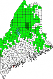 Map of Maine Showing the Location of Harpswell, including Bailey Island. Green areas are unorganized territories.