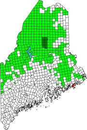 Map of Maine showing the location of Jonesport. Green areas are unorganized territories.