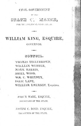 Page preceding the text of Governor King's address