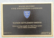 Plaque: Maine Historic Civil Engineering Landmark, Watson Settlement Bridge (2003)