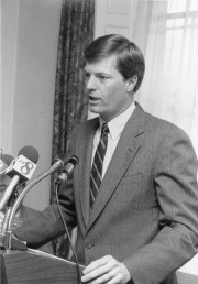 Governor McKernan at a news conference (Maine State Archives)