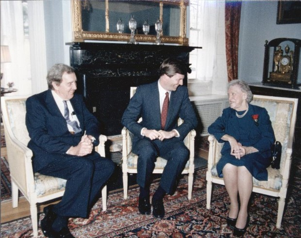 Former Governor and U.S. Senator Edmund Muskie, Governor John McKernan, and Margaret Chase Smith at the Blaine House