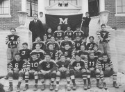 1932 Madison team, holding the game ball recording the 6-6 tie with rival Skowhegan