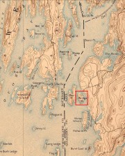 Malaga Island off Phippsburg (USGS map 1894)