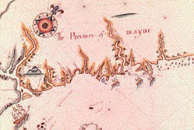 "Detail from an early map of ""The Province of Mayne"""