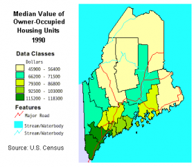 Map: Median Value of Housing Units 1990