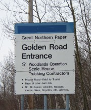 Golden Road Entrance Sign