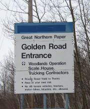 Sign: Golden Road Entrance
