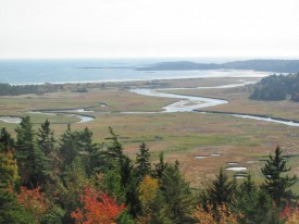 The Sprague River winding through the Salt Marsh, Bates-Morse Mountain Conservation Area