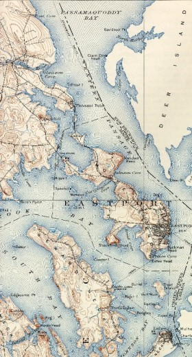 1907 Topographic Map of Passamaquoddy and Cobscook Bays