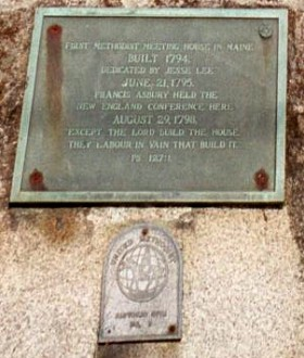 Plaque at the Jesse Lee Church (2002)