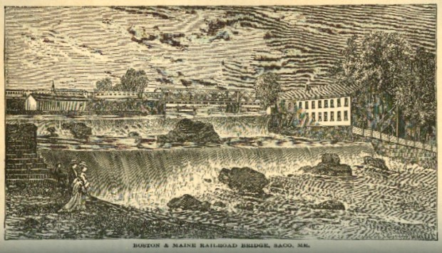 Boston & Maine Railroad Bridge, River and Mill from A Gazetteer of the State of Maine, 1886
