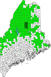 Map of Maine Showing the location of Southport. Green areas are unorganized territories.