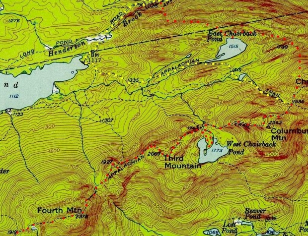 Detail from 1950 Topographic Map of T7 R9