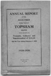Cover Page of Topsham's Annual Report 1929-1930