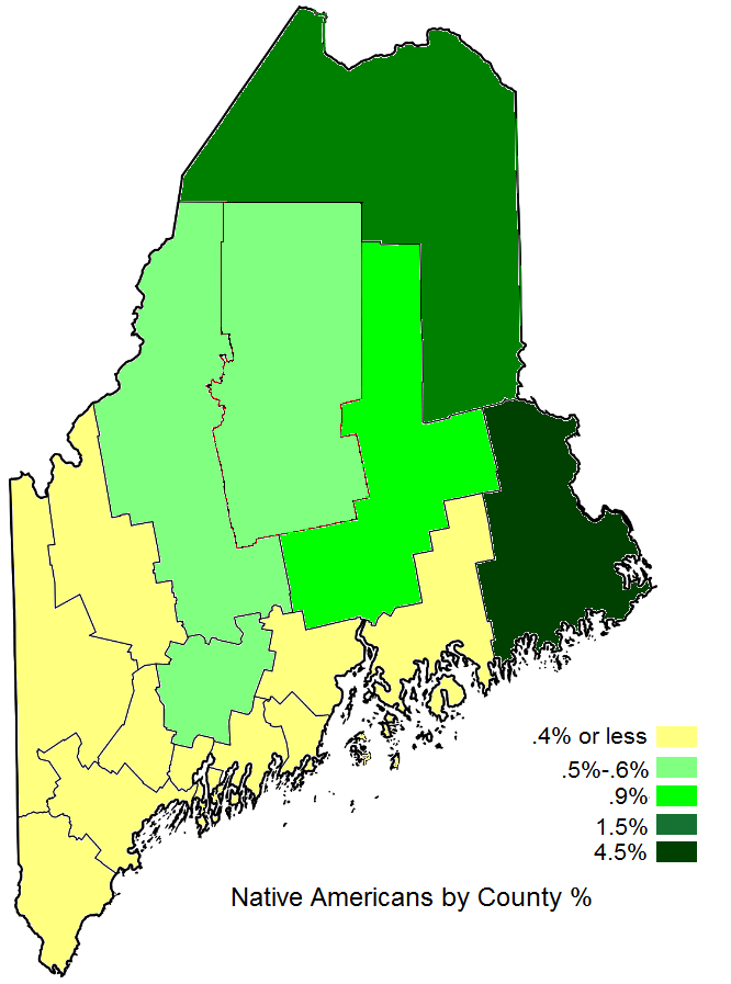 Indian Reservations Maine Map.Native Americans By County Percent Maine An Encyclopedia